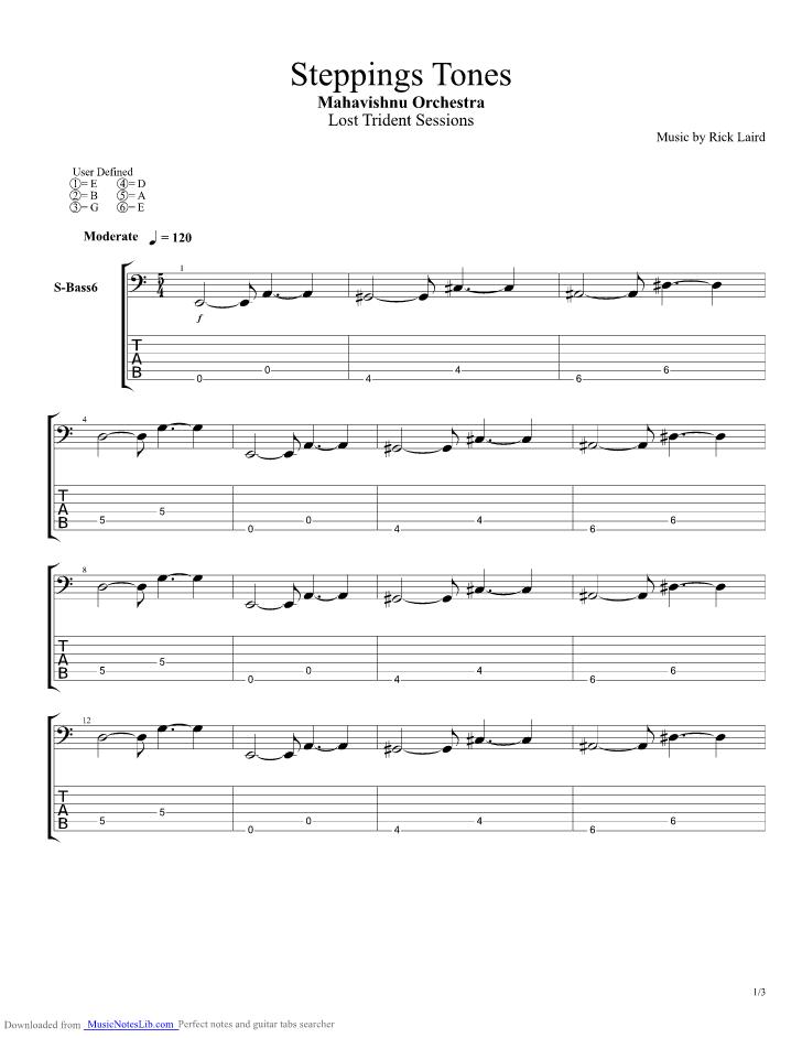 Steppings Tones Guitar Pro Tab By Mahavishnu Orchestra Mahavishnu Orchestra Music Theory Tab