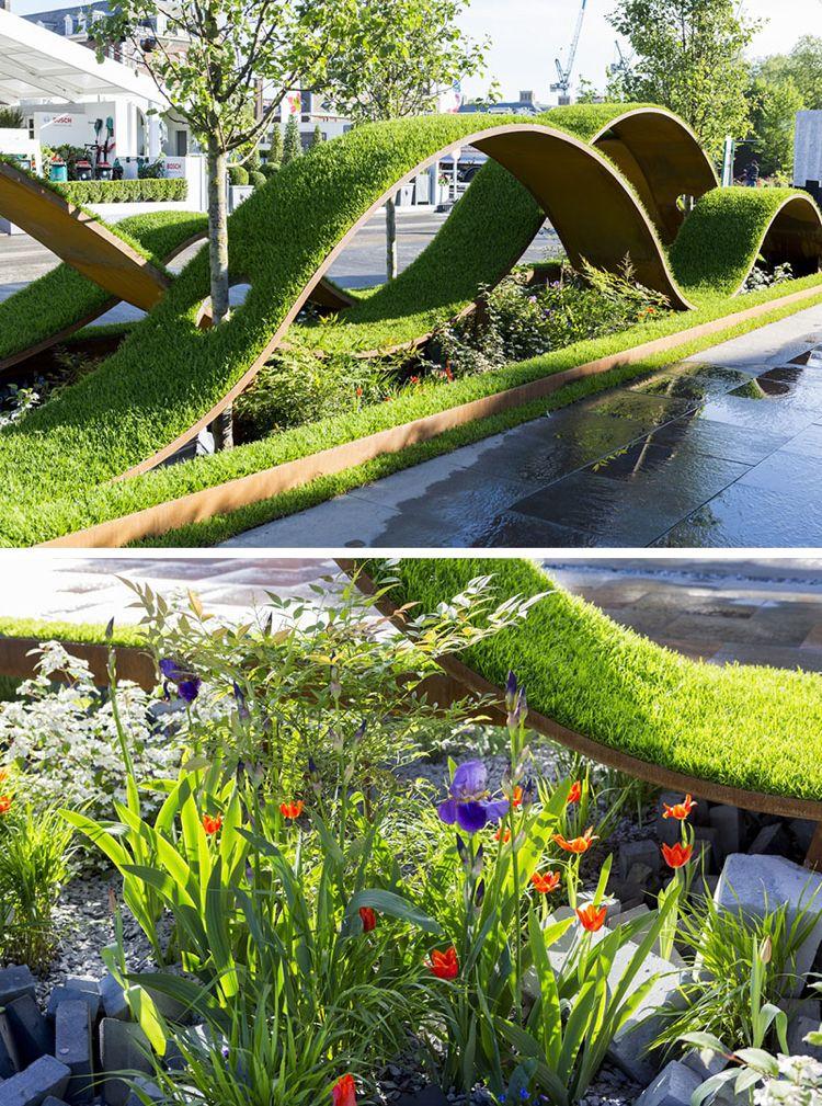 Moderne Garten Gartengestaltung Trends Anlage Rasenteppich