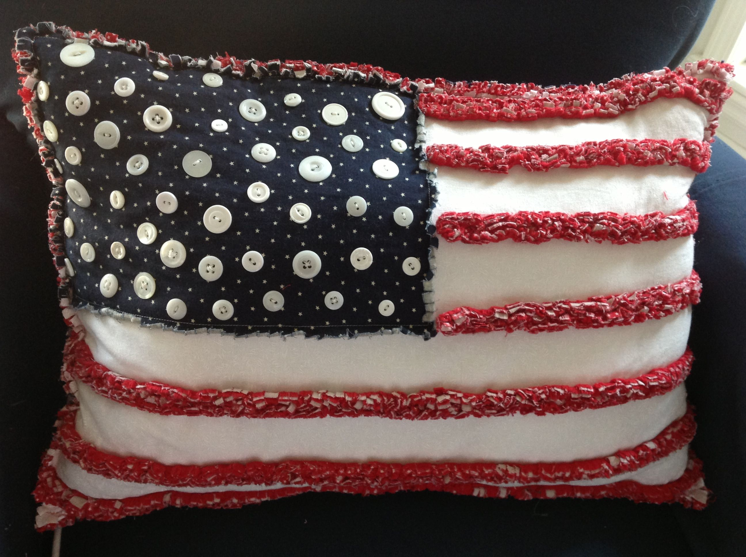 Pillow made a few years ago by Charlotte for the 4th of July. Can't wait to do a new one with her this year.