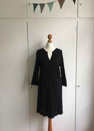 Sissy Boy | Jersey Kleid | Dunkelblau mit Schwarz | Kleiner V ...