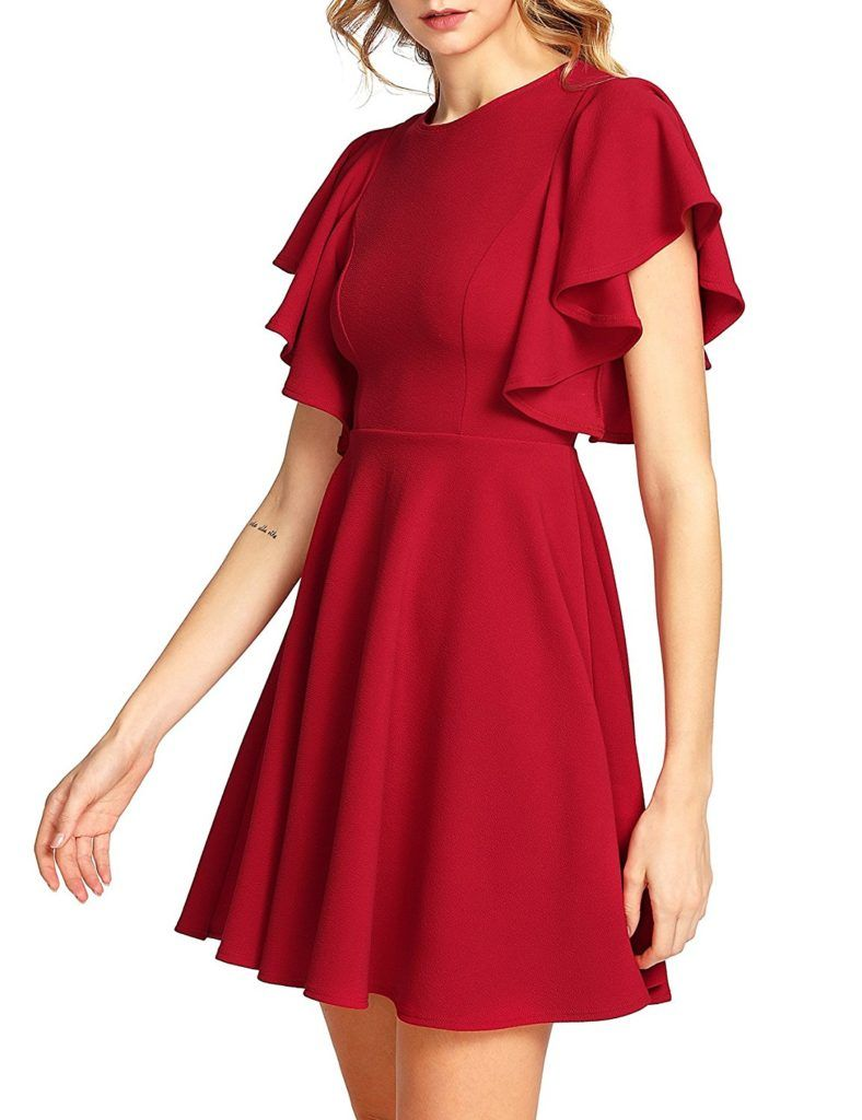 Romwe Women s Stretchy A Line Swing Flared Skater Cocktail Party Dress 338da2d1c