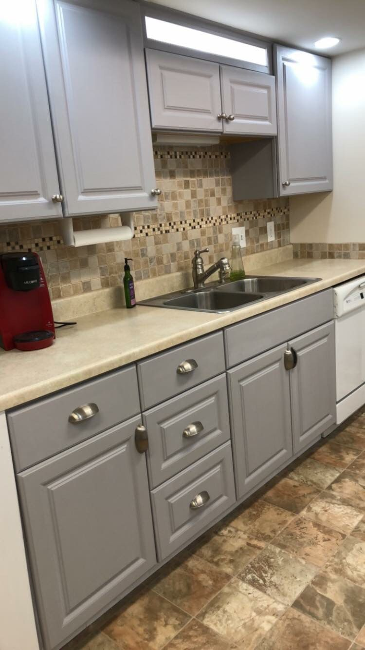 How I Painted My Melamine Cabinets Melamine Cabinets New Kitchen Cabinets Kitchen Remodel