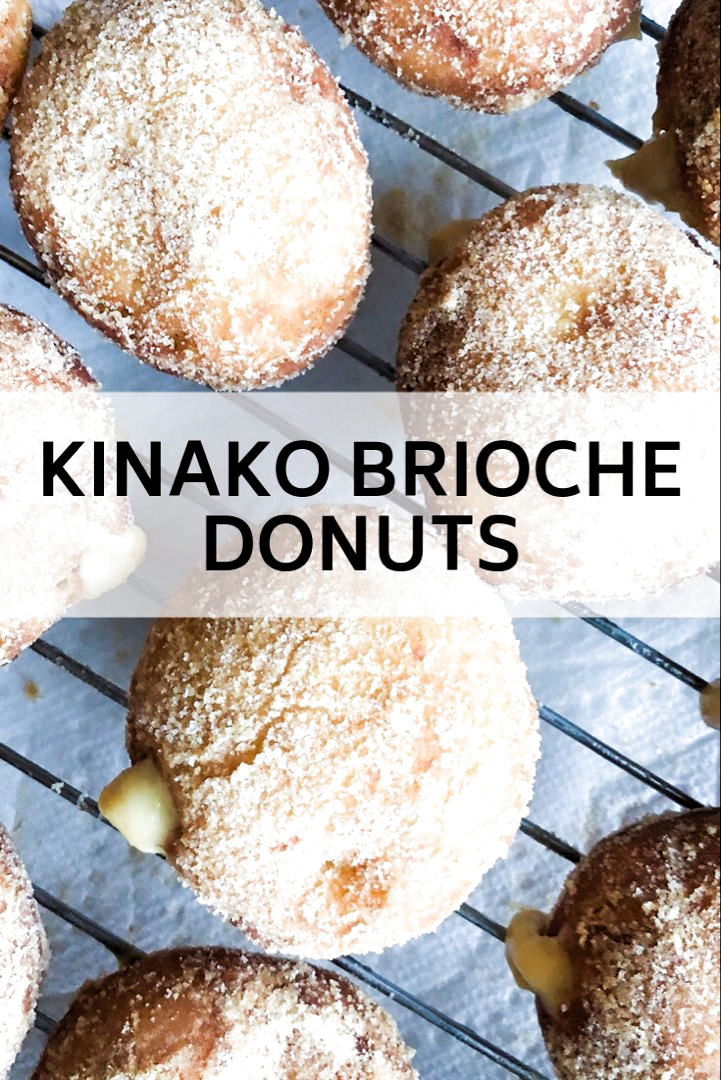 Overnight brioche dough donuts and easy pastry cream get a Japanese twist with kinako - roasted soybean flour. #recipes #japanesefood #desserts
