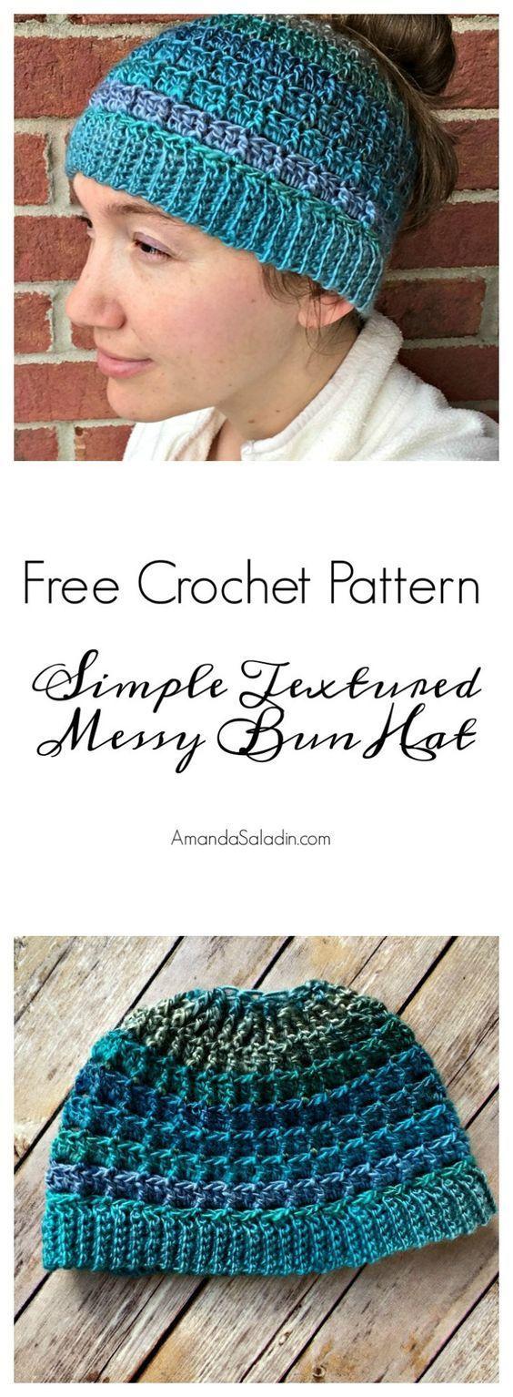 Simple Textured Messy Bun Hat - Free Crochet Pattern #messybunhat