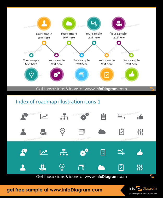 9 Steps Timeline Roadmap With Signpost Icons