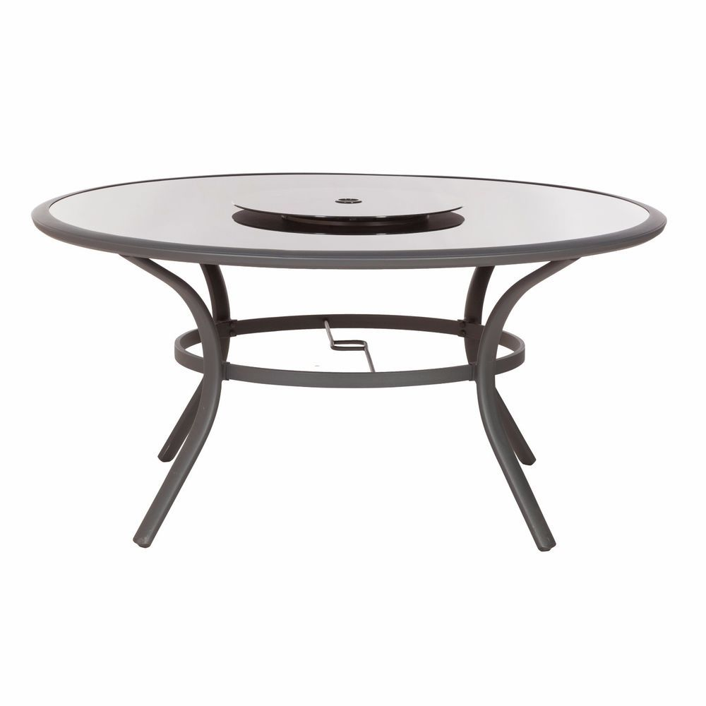 Details About Patio Glass Round Dining Table W/ Parasol Hole Garden Outdoor  Furniture 6 Seater