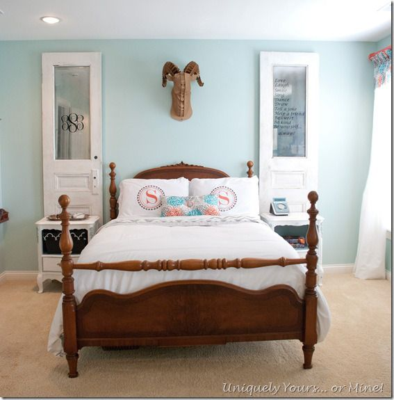 Beautiful teen girl bedroom update with vintage bed, painted
