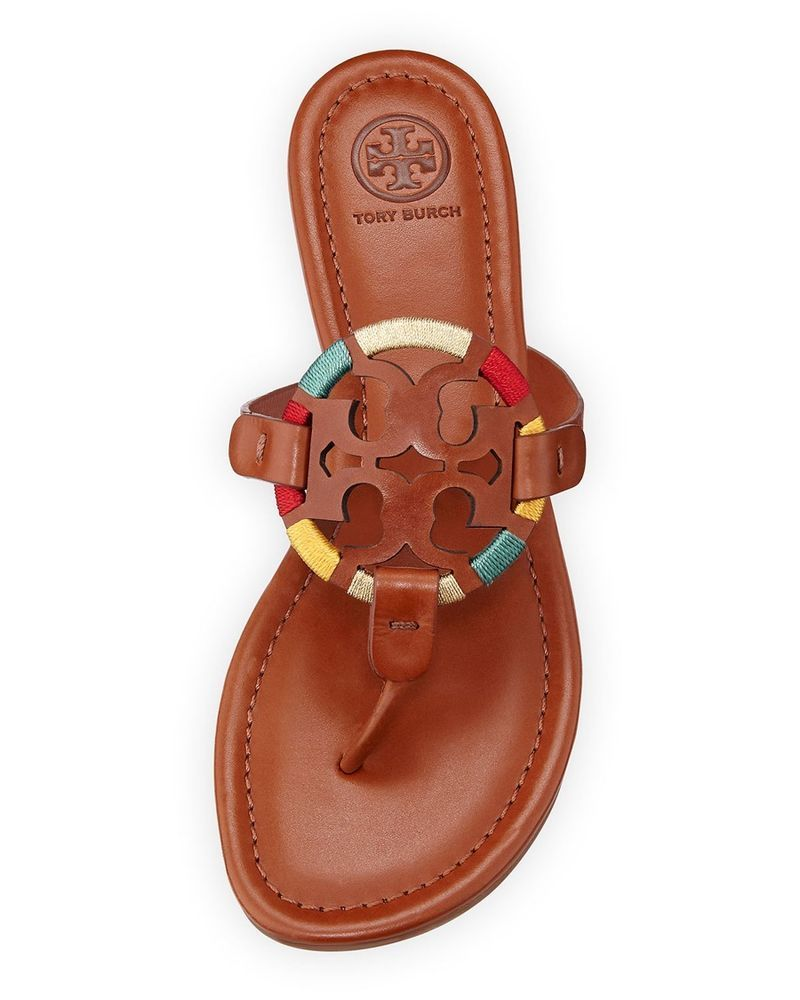 61335ff5f NIB Tory Burch Miller Embroidered Sandals Vintage Vachetta Size 8 #ToryBurch  #Thong