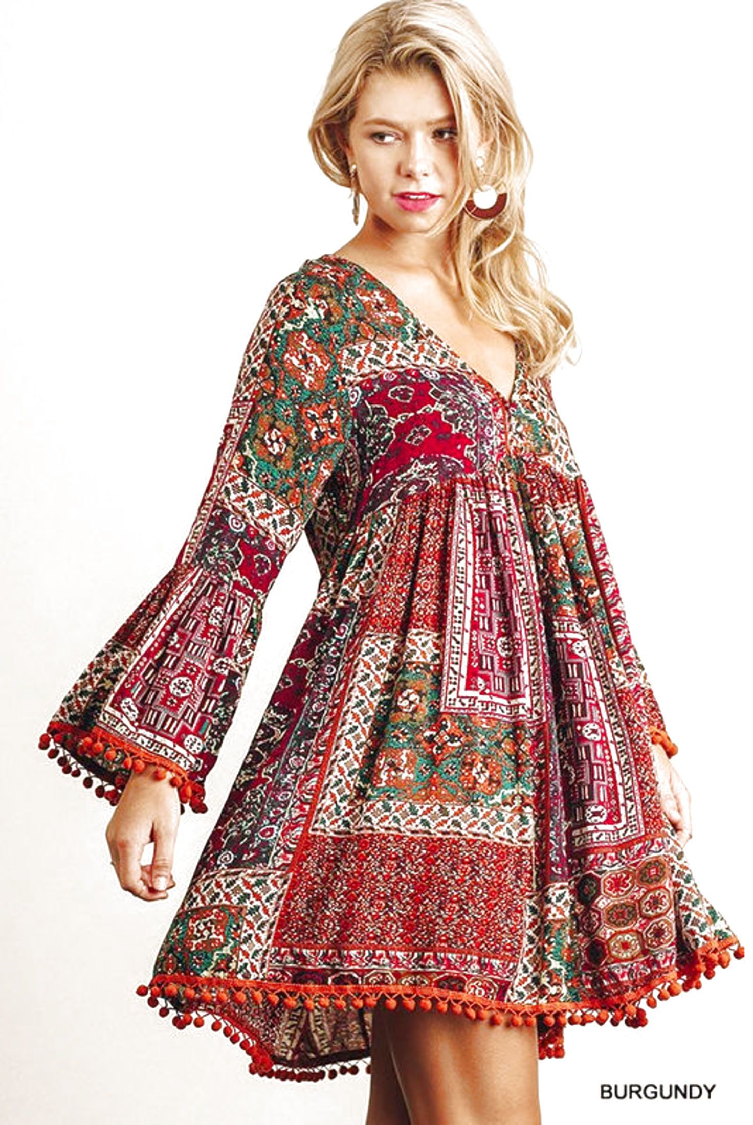 ccd27597d7d1 UMGEE Peasant Patchwork Hippie Dress Long Bell Sleeve Shift Swing Long  Tunic  27.45