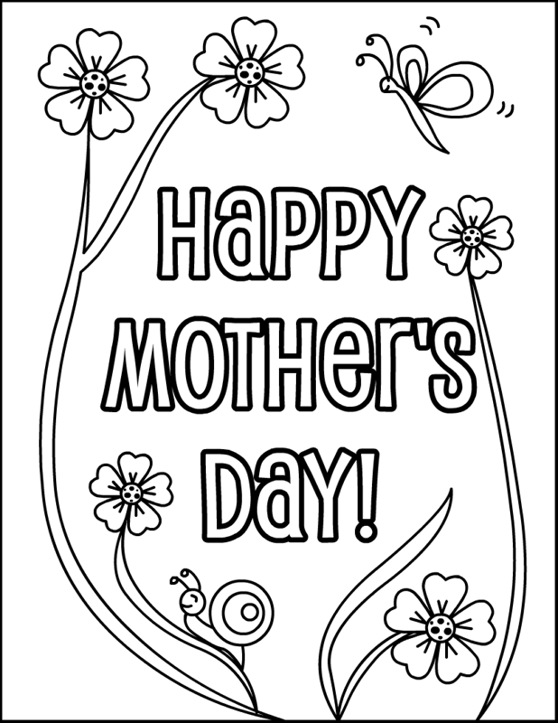 Happy Mothers Day Coloring Page  Coloring Happy and Flower