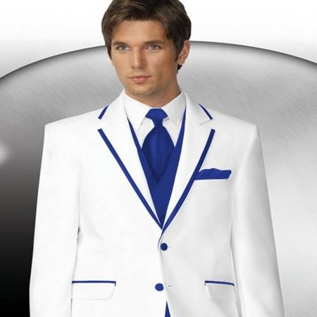 2 Button Style White Tuxedo With Royal Blue Trim Collar   Matching ...