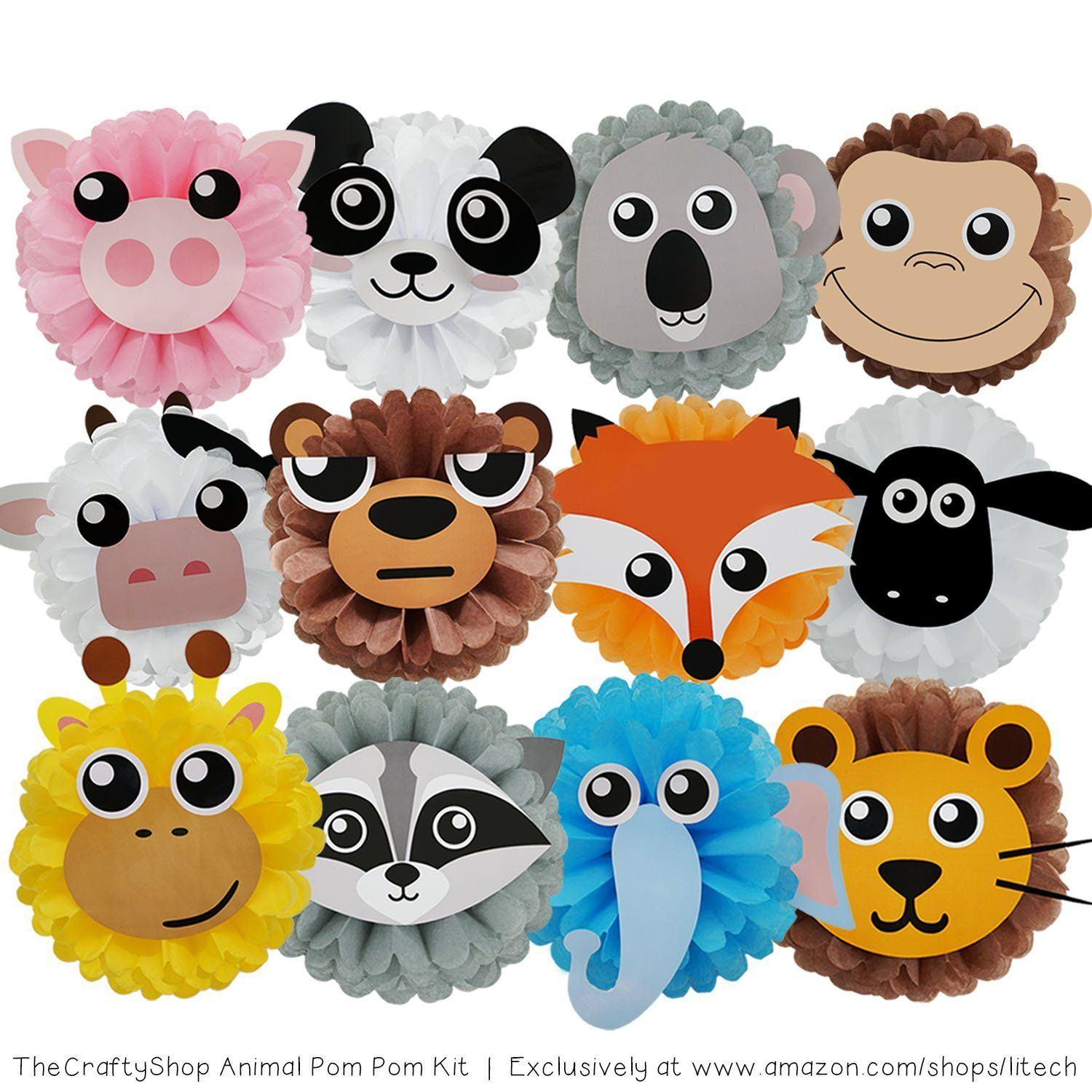Thecraftyshop 12 tissue paper flower animal pom pom kit perfect amazon thecraftyshop 12 tissue paper flower animal pom pom kit perfect diy decoration project kit for birthday baby shower indoor outdoor animal mightylinksfo Image collections