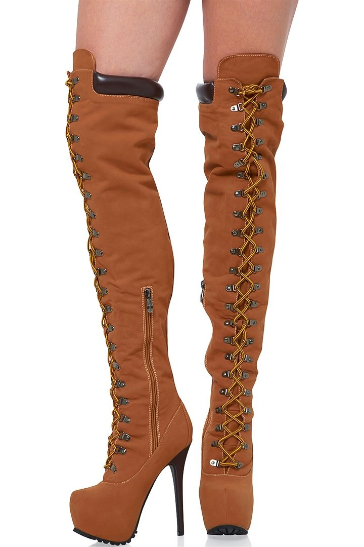 615db770c37 Cape Robbin Olga-YH-2 Construction Lace Up Heel Boots - Tan at ShopRoxx.com