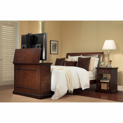 This Tv Lift Cabinet Is A Great Design Solution For Small Bedroom It Fits Nicely At The Foot Of Your Bed Elevate Espresso Flat
