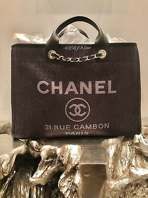 80b90db18b2f NWT CHANEL BLACK DEAUVILLE TOTE X-LARGE TWEED BOUCLE GST GRAND SHOPPING  2019 XL