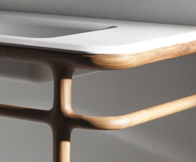 Wood & corian washstand
