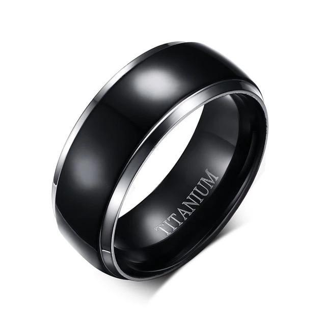 Classic Black & Silver Titanium Ring