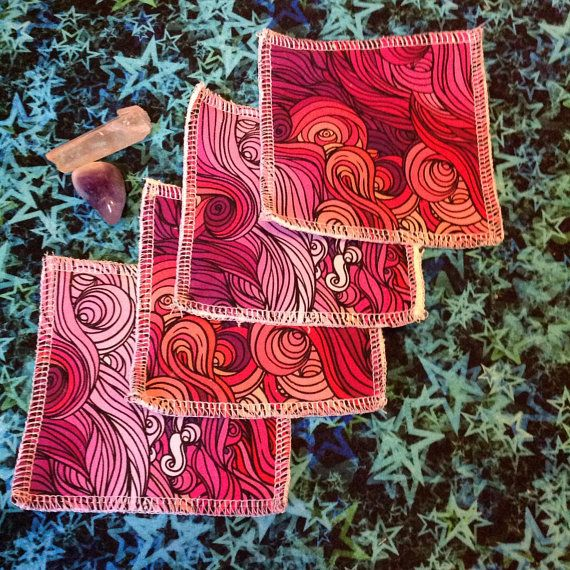 Cloth face wipes make up remover unpaper towel pink swirl