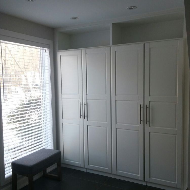 IKEA Pax wardrobes   cleverly built in with top shelves | Closet