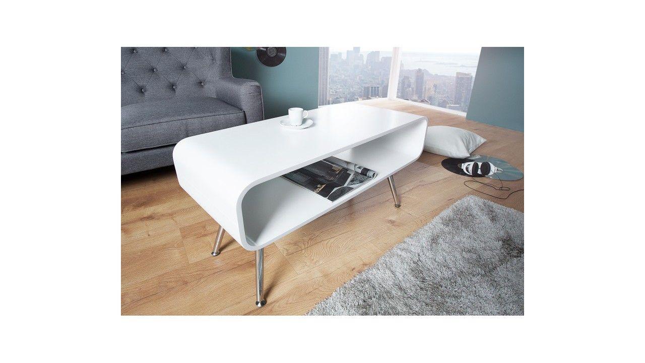 Table Basse Design Atlantis Blanche En Mdf Avec Quatre Pieds En Metal Chrome Table Basse Design Table Basse Table De Salon Design