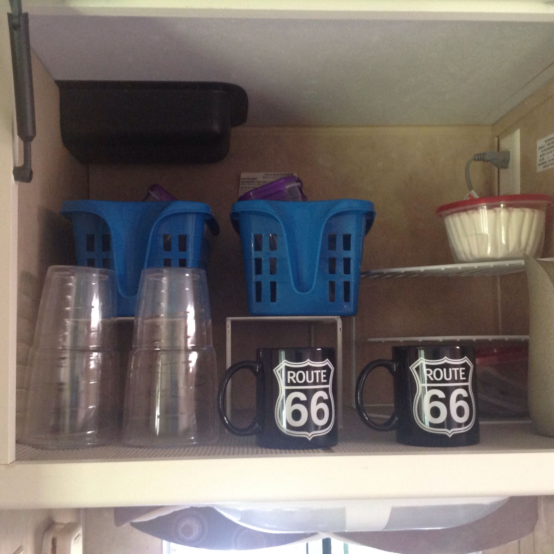 Shelving Racks Insulated Glasses Coffee Filters In Round Storage Container Route 66 Coffee Cups With Images Travel Trailer Organization Shelving Racks Storage Baskets