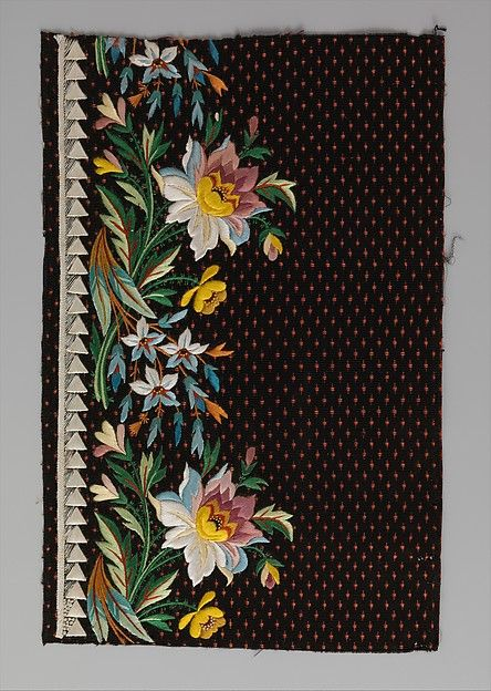 Embroidery sample for a man's suit, 1800-15. French. Met collection.