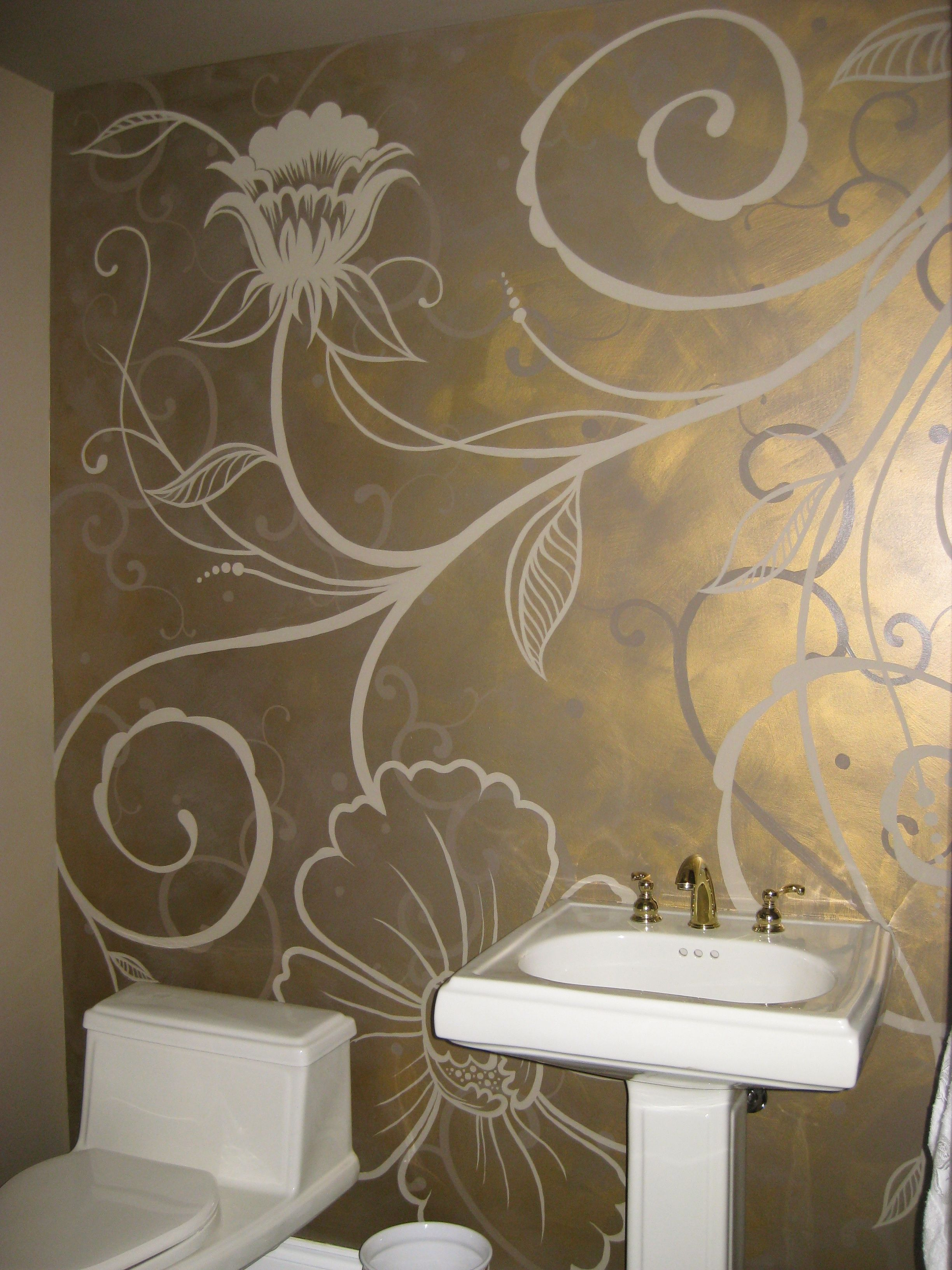 Metallic Br Glazed Wall With Flat Taupe Hand Painted Fl Pattern In A Main Floor Powder Room Custom Interior Design By Mimi Gerow