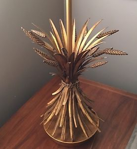 Vtg Wheat Sheaf Table Lamp Hollywood Regency Gold Gilt Tole Wheat Sheaf Gilt Hollywood Regency