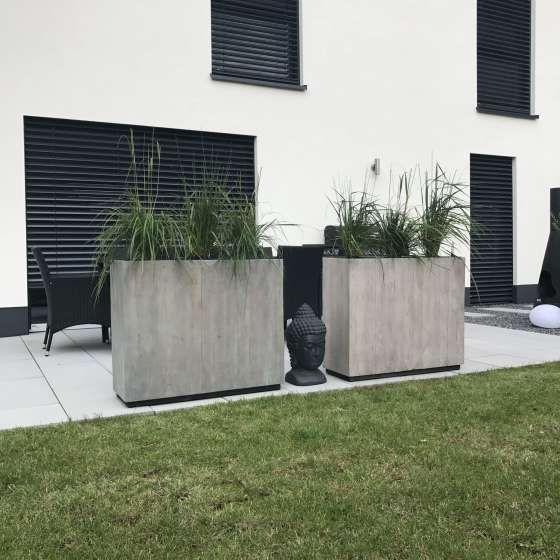 Pflanzkübel Raumteiler Fiberglas Elemento, Anthrazit #betonblockgarten