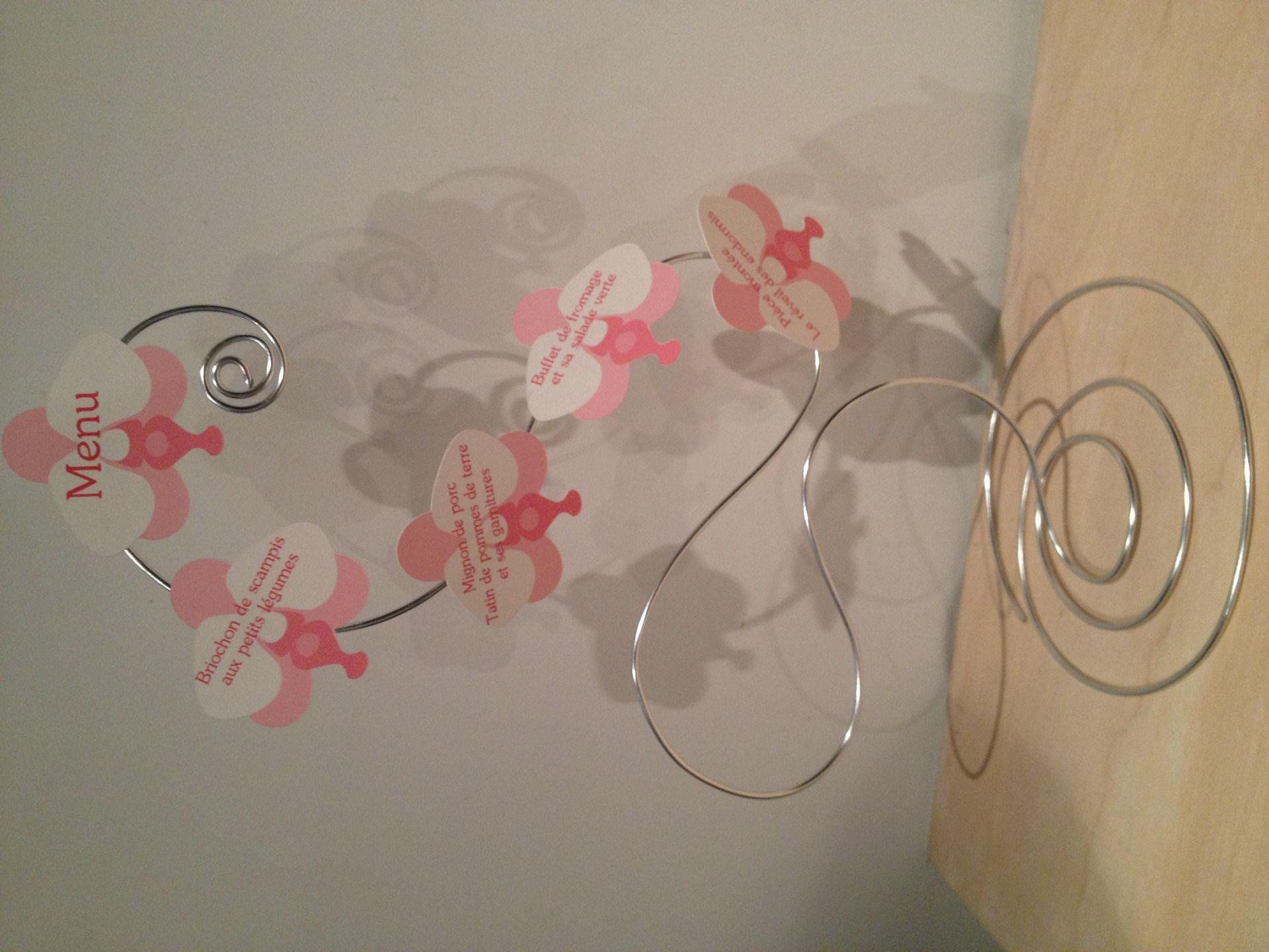 Extrêmement 3 Menus mariage original fil aluminium thème orchidée rose et  GY78