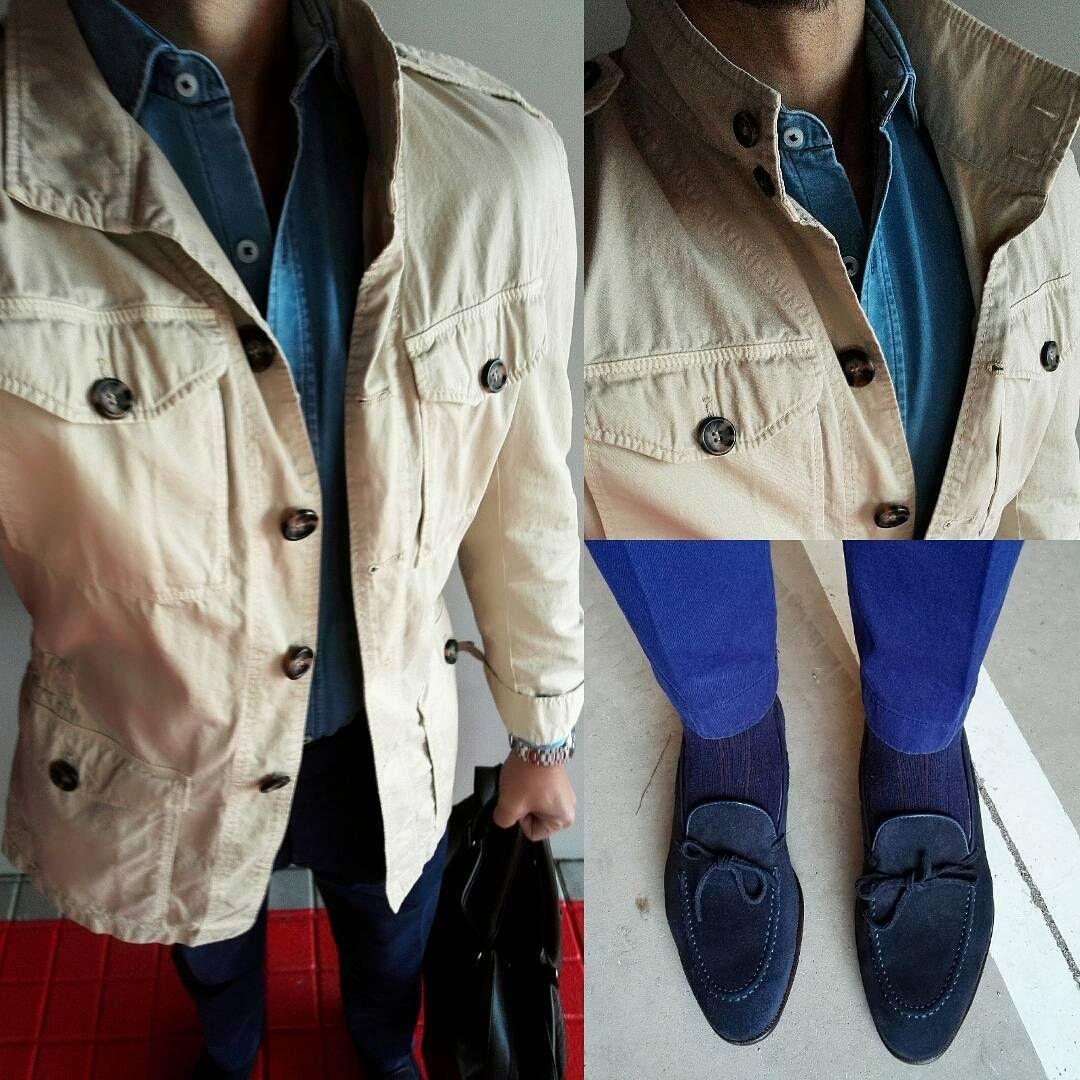 #saharianjacket, #denim shirt and @carminashoemaker #loafers…