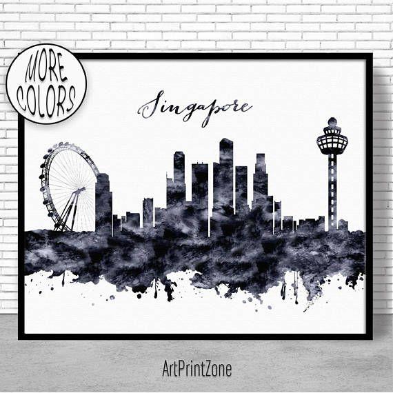 Singapore Print Singapore Skyline Singapore Art Office Wall Art City Skyline Prints Skyline Art Artprintzone Singapore Art City Skyline Art Skyline Art