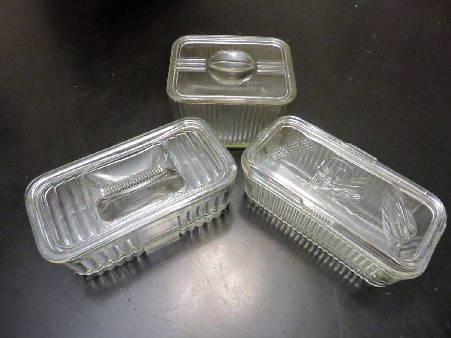 Hazel Atlas Style Covered Refrigerator Dish Set of Three