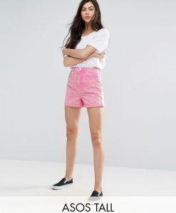 ASOS TALL Denim Mom Shorts in Pink - Pink. Panatlones Cortos Para  MujeresPantalones ...