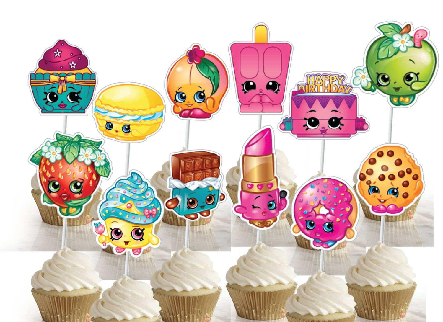 This Listing Is For A Set Of 30 Assorted Shopkins Birthday