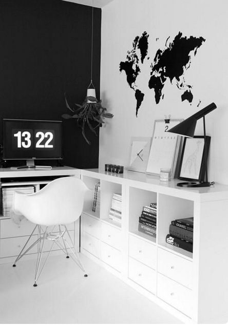 black and white office. 21 monochrome bedrooms that will give you so much interior inspiration home office decor