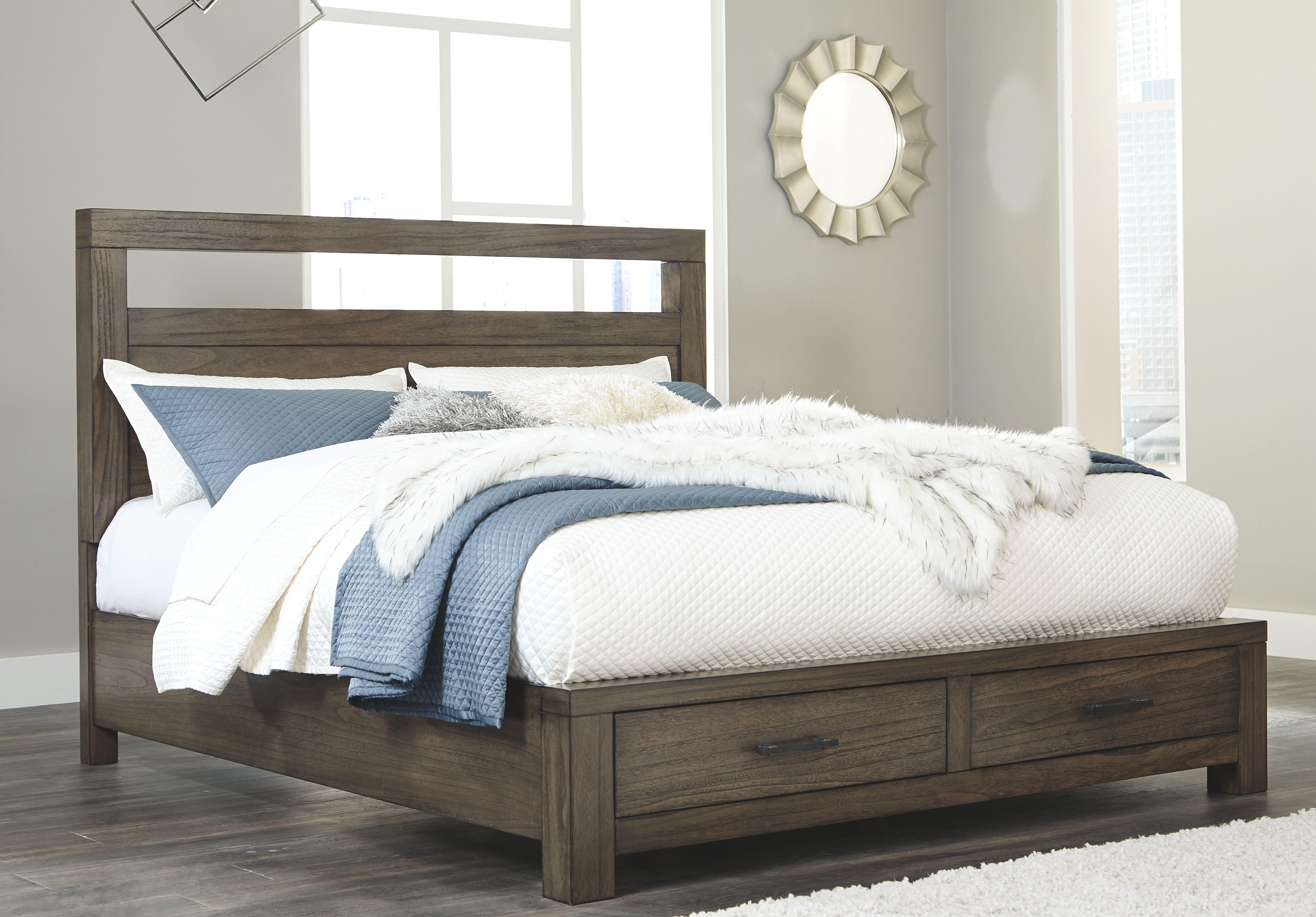 Deylin Queen Panel Bed with Storage, Grayish Brown Bed