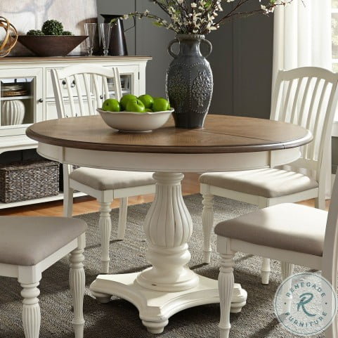 Cumberland Creek Nutmeg and White Extendable Pedestal Dining Table