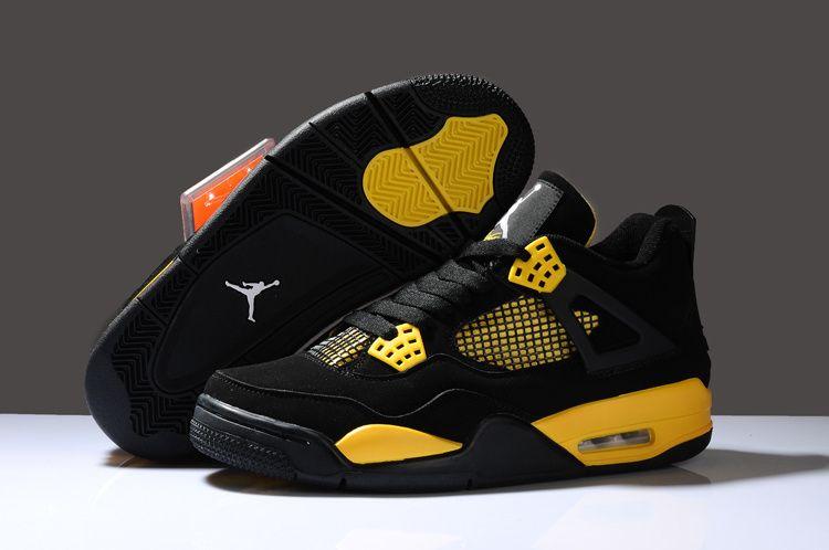 Air jordan 4 black yellow men shoes | Air jordans, Nike shoes ...