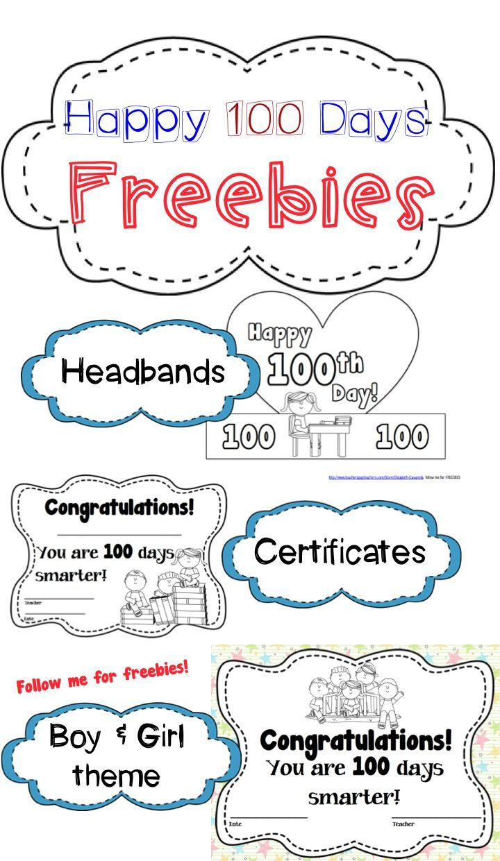 100th Day Free Printables Headbands And Certificates Both Girl Theme And Boy Kindergarten Worksheets Printable Kindergarten Worksheets Preschool Job Chart