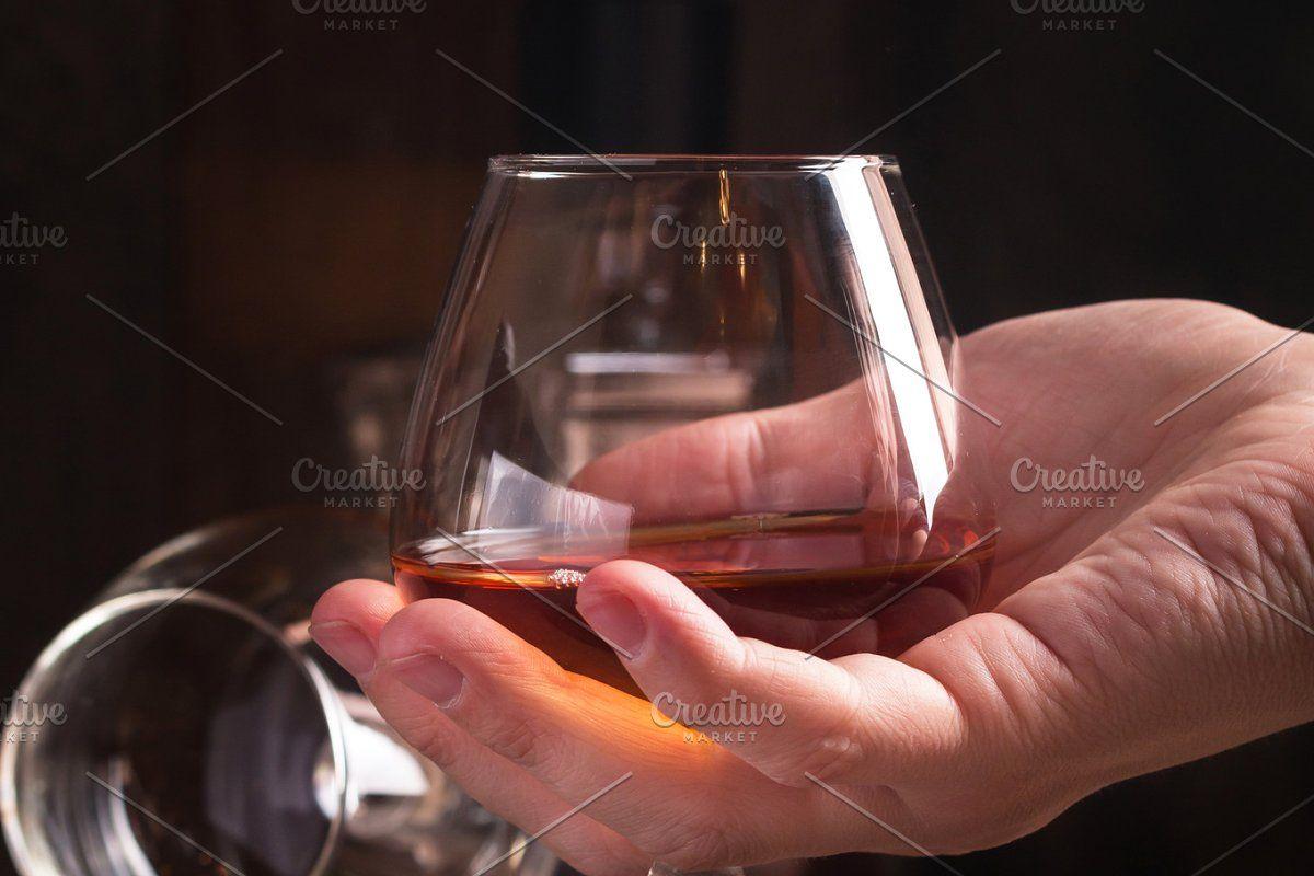 Glass Of Brandy Or Cognac And Bottle In 2020 Glass Brandy Bottle