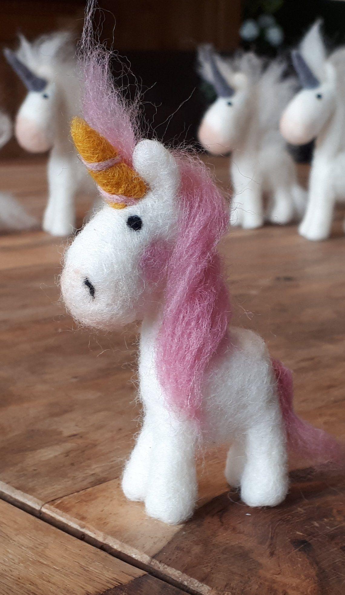 Sweet Unicorn in Desire color hand felted felts Black flower pendant decoration Nursery gift girl children Birthday