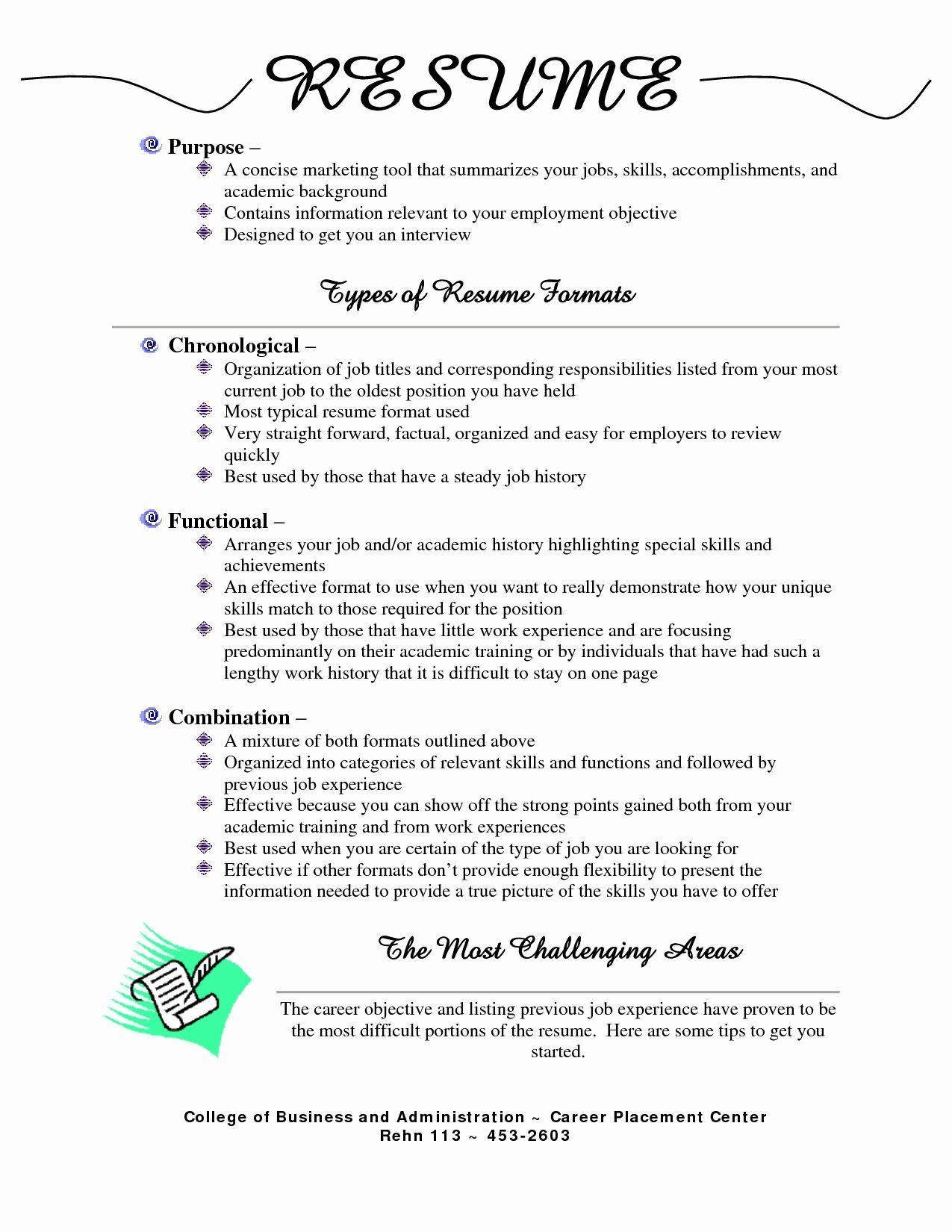 Resume Format Types Format Resume Types Resume Examples