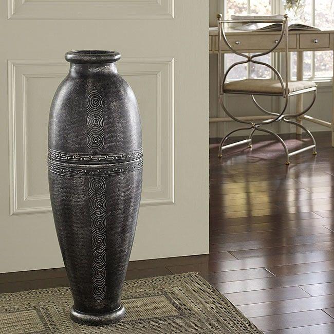 Antique Silver Floor Urn Vase Indonesia Antique Silver Floor Vase