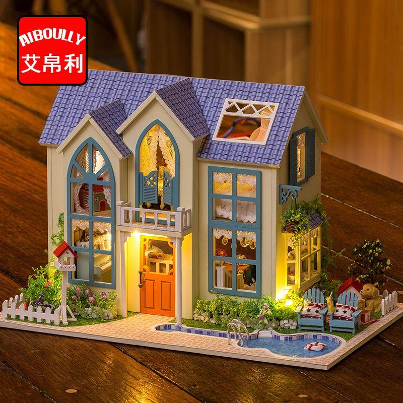 Günstige Garden Cottage Puppenhaus Miniatur DIY Dollhouse Mit Möbel  Holzhaus Spielzeug Für Kinder Geburtstagsgeschenk, Kaufe