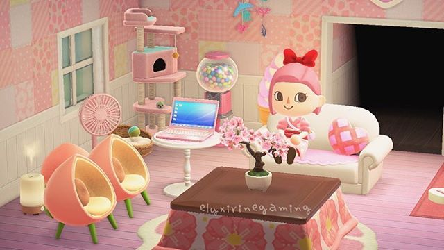 Pin By Ap On Animal Crossing New Horizons Cute Furniture Pink Living Room Room Design