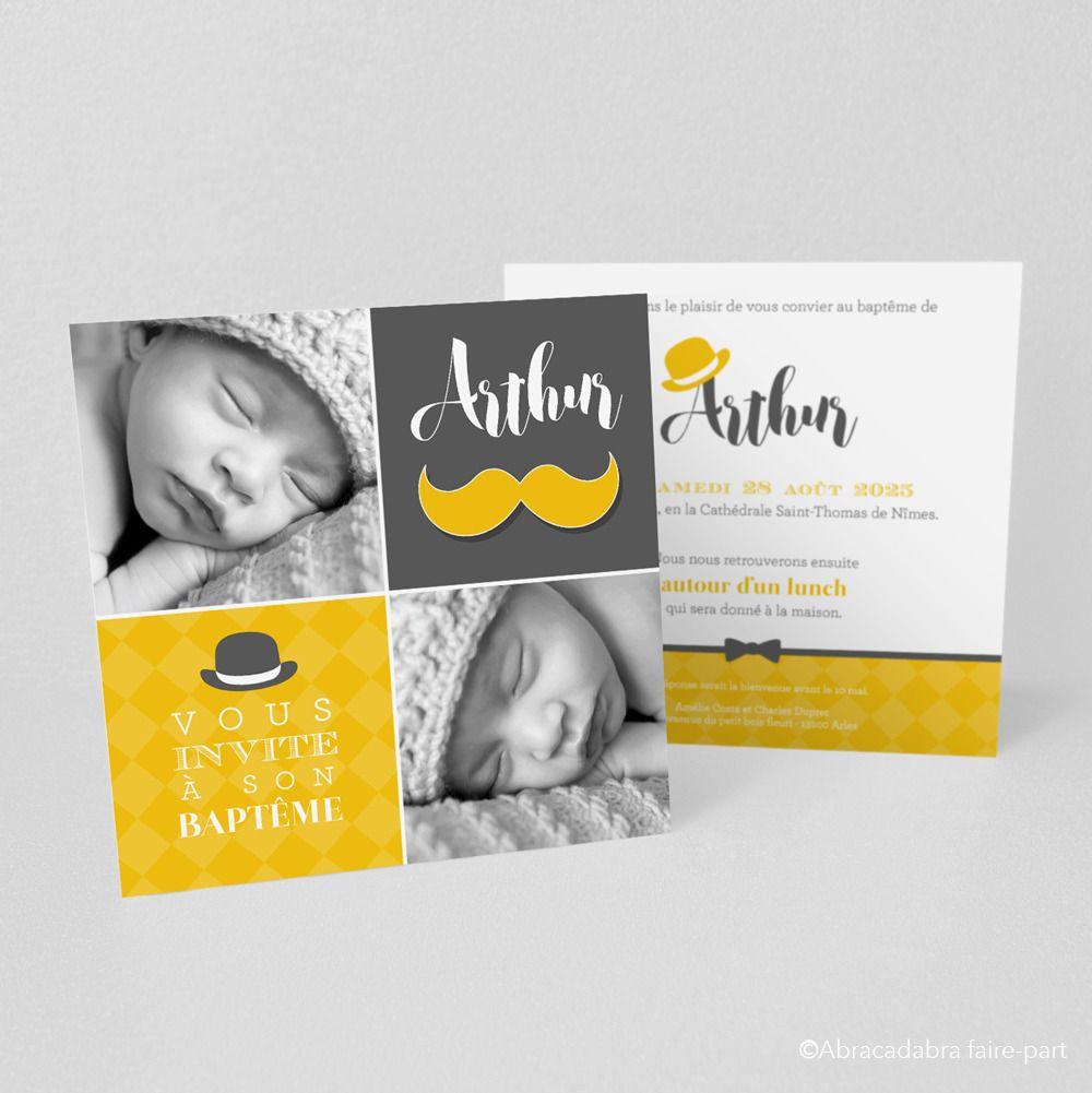 Souvent Faire-part de naissance/baptême M. Moustache Jaune/Gris - Modèle  VS65
