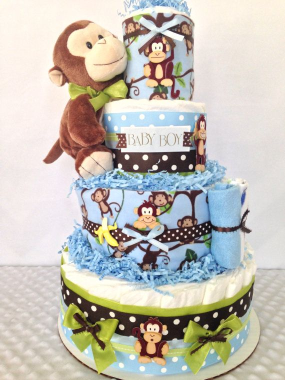 Deluxe monkey diaper cake in brown and green by for Baby diaper decoration ideas