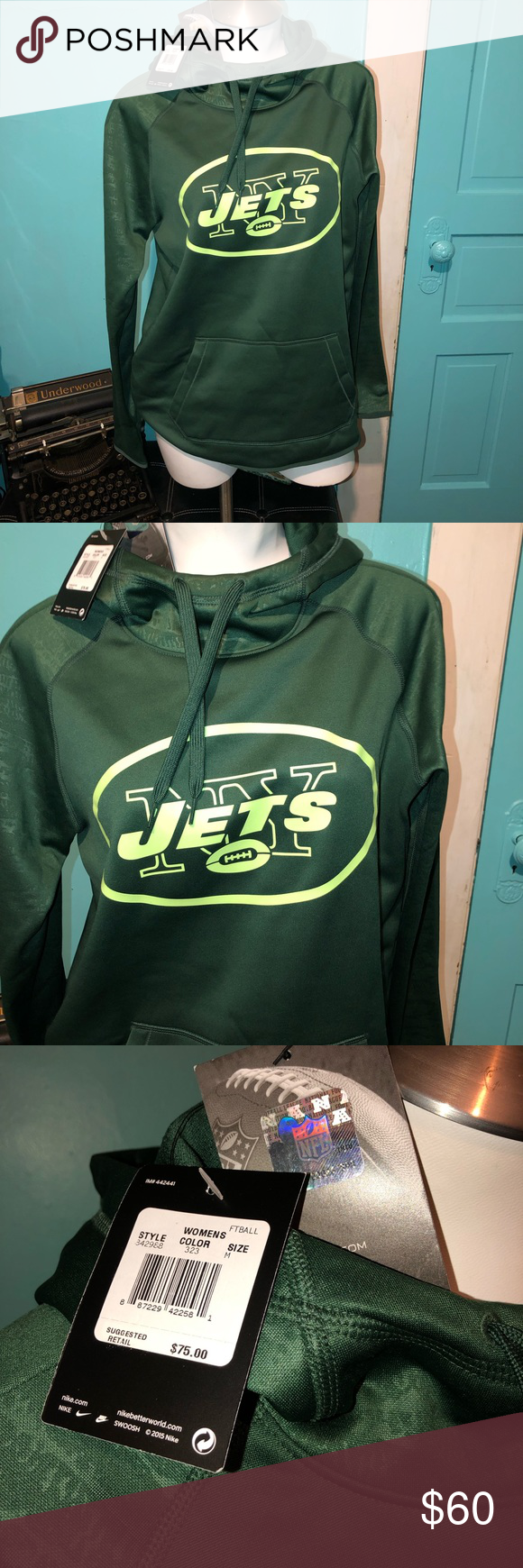 """a85c16fc Nike """"NY JETS"""" hoodie Brand new with tags, green in color. Size ..."""