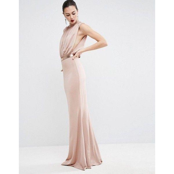 ASOS TALL Slinky High Neck Metallic Belt Maxi Dress ($76) ❤ liked on Polyvore featuring dresses, high neck dress, asos dresses, high neckline dress, maxi length dresses and metallic dress